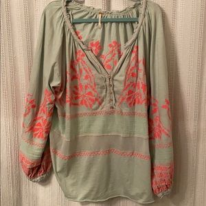 Gorgeous Sea Green and Hot Pink Free People Top